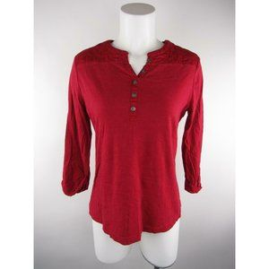 Croft & Barrow Quilted Trim 3/4 Button Henley Top